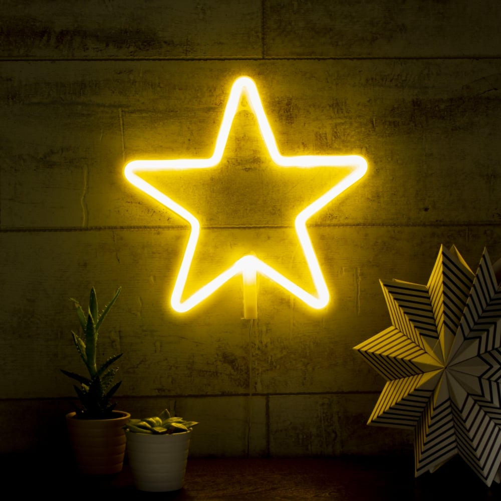 white star shape led neon wall light bedroom and nursery. Black Bedroom Furniture Sets. Home Design Ideas