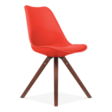 Red Dining Chair with Pyramid Style Solid Oak Wood Legs