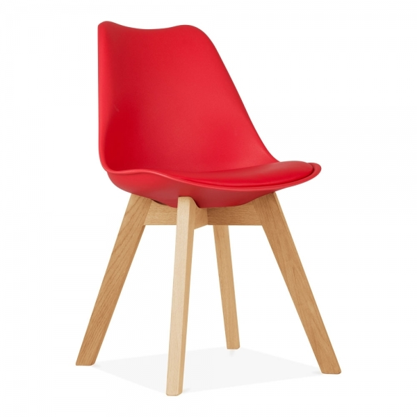 Red Dining Chairs With Solid Oak Crossed Wood Leg Base