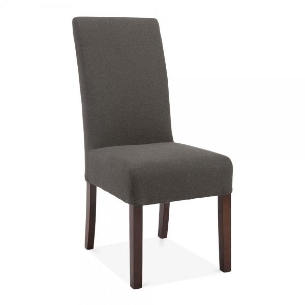 Upholstered High Back Dining Chair: Dark Grey Wool Upholstered Regal High Back Dining Chair