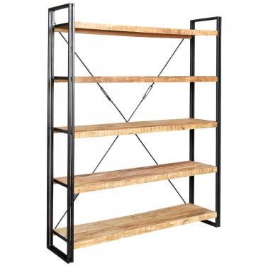 Regis Large Open Bookcase, Solid Hardwood and Iron, Natural