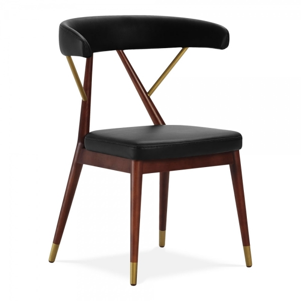 black leather upholstered reysenn dining chair mid century chairs. Black Bedroom Furniture Sets. Home Design Ideas