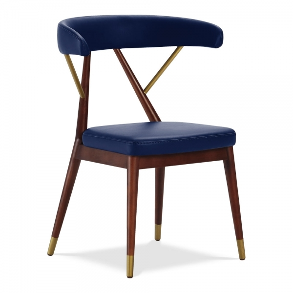 wholesale dealer 1aba8 9d0b1 Reysenn Wooden Dining Chair, Faux Leather Upholstered Seat, Blue