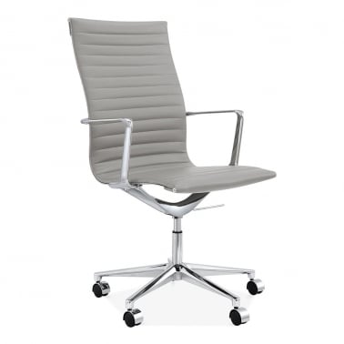 Ribbed Office Chair with High Back - Smokey Grey