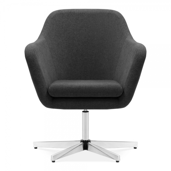 Dark Grey Upholstered Rocco Swivel Lounge Chair | Modern ...
