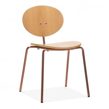 Roma Metal Dining Chair, Natural Oak Wood, Copper