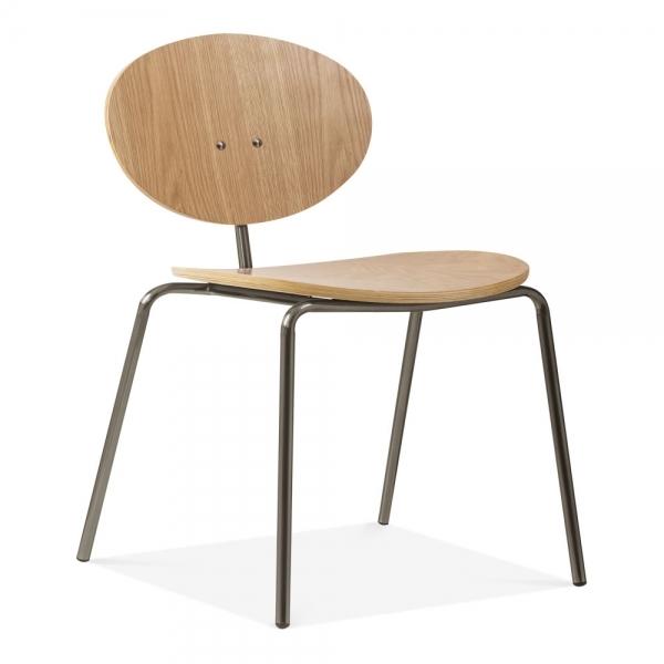 Cult Studio Roma Metal Dining Chair Natural Oak Wood Rustic