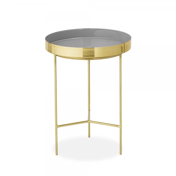 Grey Gold Round Metal Tray Side Table