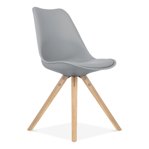 Soft Pad Dining Chair With Pyramid Style Solid Oak Wood Legs Grey
