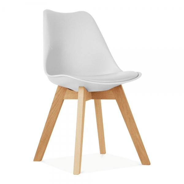 sneakers for cheap 78b02 f3c73 Soft Pad Dining Chair with Solid Oak Crossed Wood Legs, White