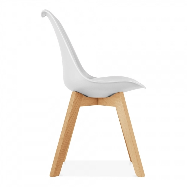 Soft Pad Dining Chair With Solid Oak Crossed Wood Legs White
