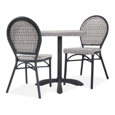 Seymour 3 Piece Bistro Set, Grey Rattan