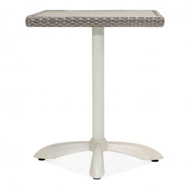 Seymour Outdoor Cafe Table, White and Grey Rattan