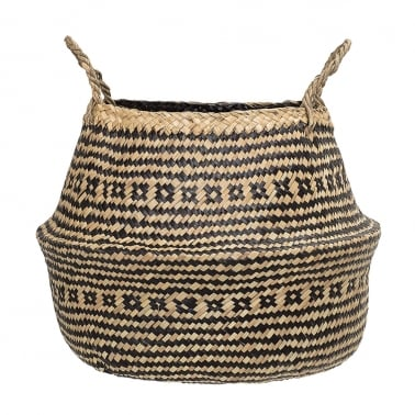 Small Seagrass Woven Basket, Black and Natural