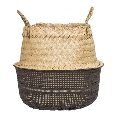 Small Seagrass Woven Basket, Black