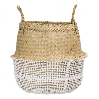 Small Seagrass Woven Basket, White