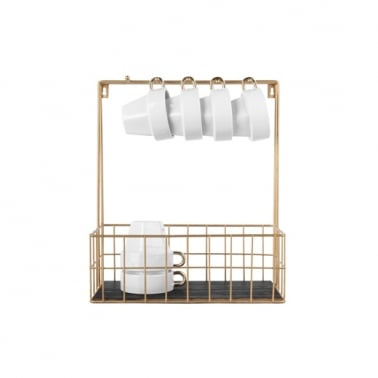 Small Wall Mounted Kitchen Rack with Hooks, Gold