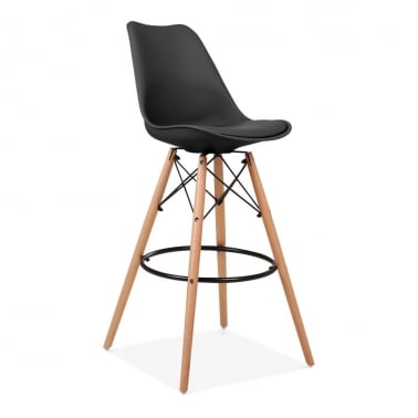 Soft Pad Bar Stool with Backrest, DSW Style Natural Wood Leg, Black 75cm