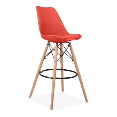 Soft Pad Bar Stool with Backrest, DSW Style Natural Wood Leg, Red 75cm