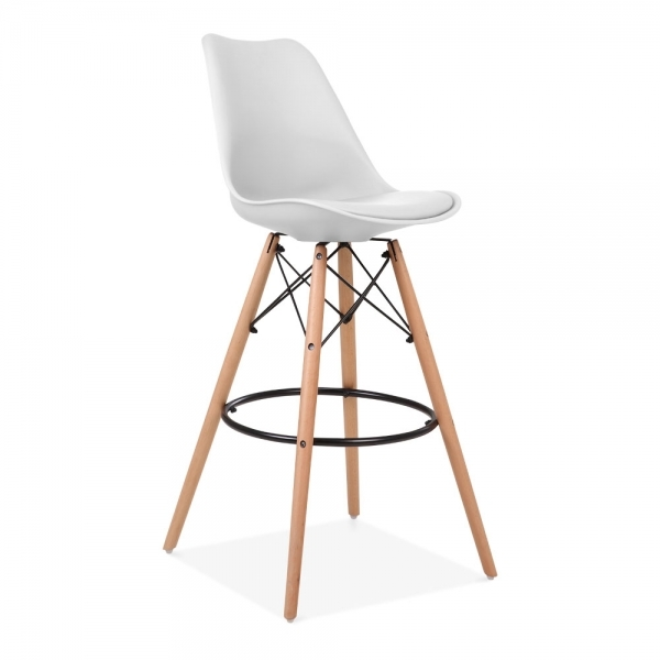 White 75cm Bar Stool With Eames Inspired Style Leg