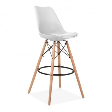 Soft Pad Bar Stool with Backrest, DSW Style Natural Wood Leg, White 75cm
