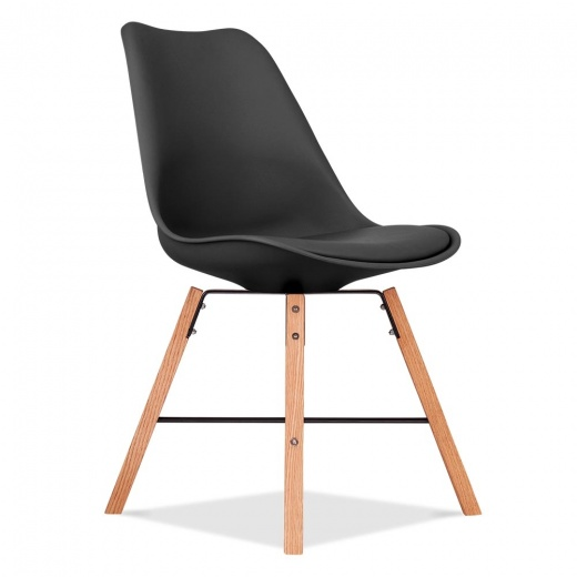Eames Inspired Soft Pad Dining Chair With Cross Brace Legs - Black