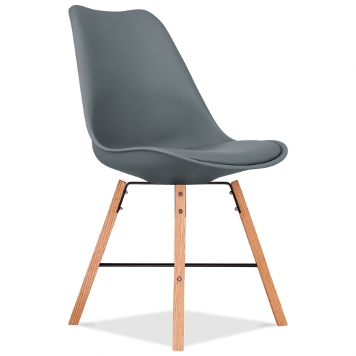 Eames Inspired Soft Pad Dining Chair With Cross Brace Legs - Grey