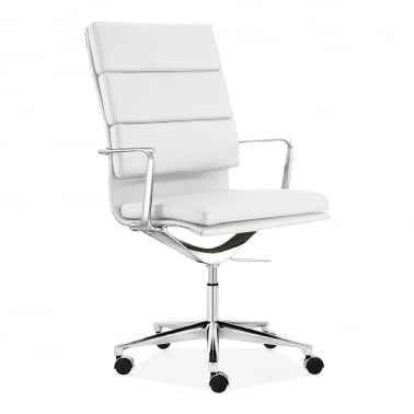 Soft Pad Office Chair with High Back – White