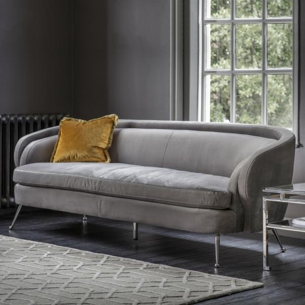 Grey Soro 3 Seater Sofa Velvet Sofas
