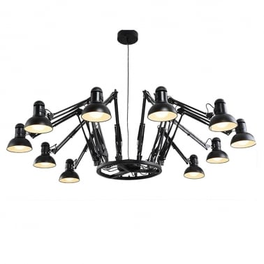 Spider Adjustable Arm Chandelier with Shade - Black