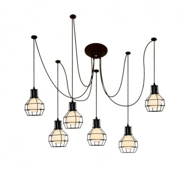 Spider chandelier pendant lights with wire cage black