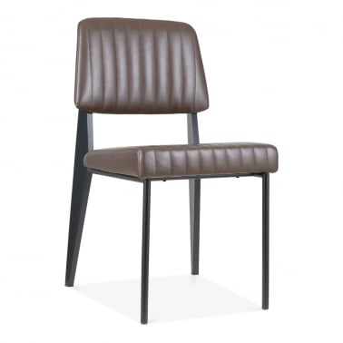Standard Metal Dining Chair, Faux Leather Upholstered, Brown
