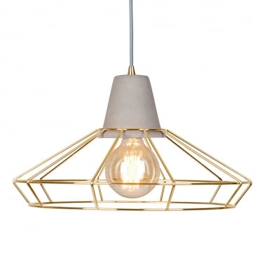 Stone studio round pendant light gold concrete