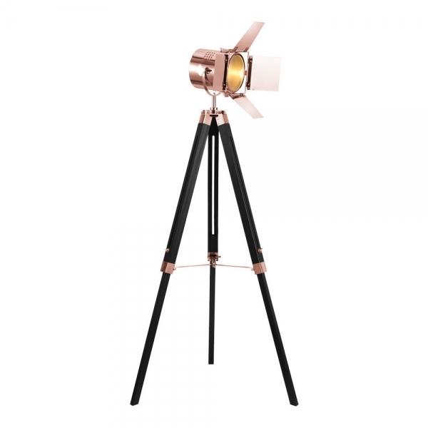 Copper Studio Tripod Floor Lamp Black Wood