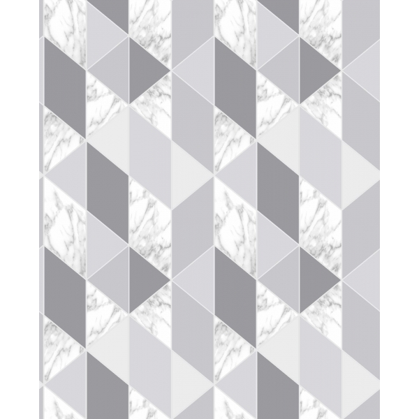 Marble Geometric Triangle Wallpaper Grey
