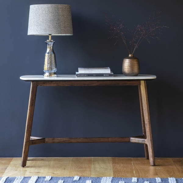 Cult Living Sybil Console Table, White Marble Top, Brown