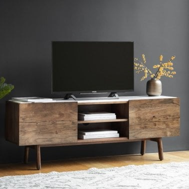 Sybil Media And Tv Unit White Marble Top Brown