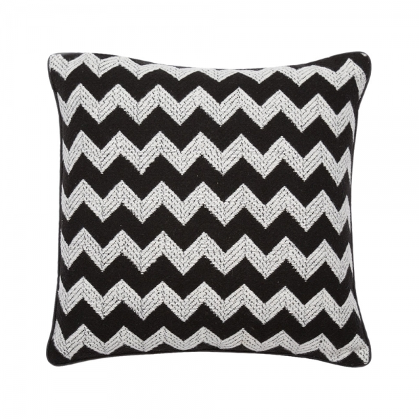 Stupendous Textured Zig Zag Fabric Cushion Black And White Pdpeps Interior Chair Design Pdpepsorg