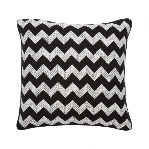 Cult Living Textured Zig Zag Fabric Cushion, Black and White
