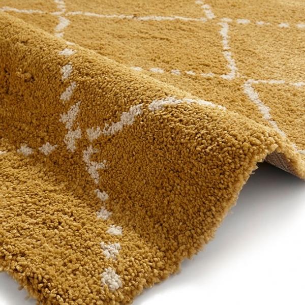 Think Rugs Royal Nomadic Shaggy Floor Rug Pure Polypropylene Yellow Diamond
