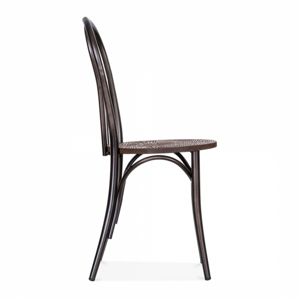 Thonet Style Metal Bistro Chair With Wood Seat   Raw Finish