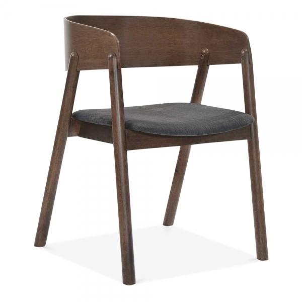 Awesome Tilda Wooden Dining Chair Dark Grey Fabric Upholstered Walnut Download Free Architecture Designs Intelgarnamadebymaigaardcom