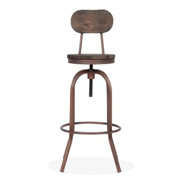 Toledo Style Florence Swivel Stool with Backrest, Copper 65-86cm