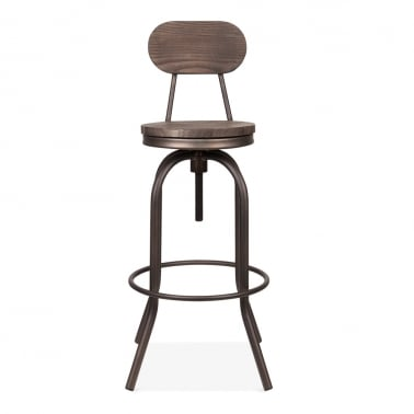 Toledo Style Florence Swivel Stool with Backrest, Rustic 65-86cm