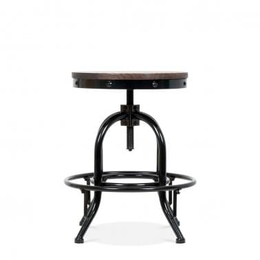 Toledo Style Trax Metal Swivel Low Stool - Black 45-61cm