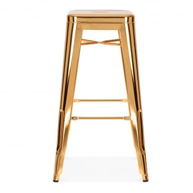 Tolix Style Metal Bar Stool, Gold 75cm
