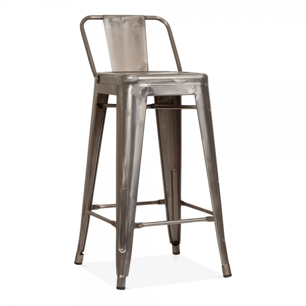 Tolix Style Metal Bar Stool With Backrest Gunmetal 65cm