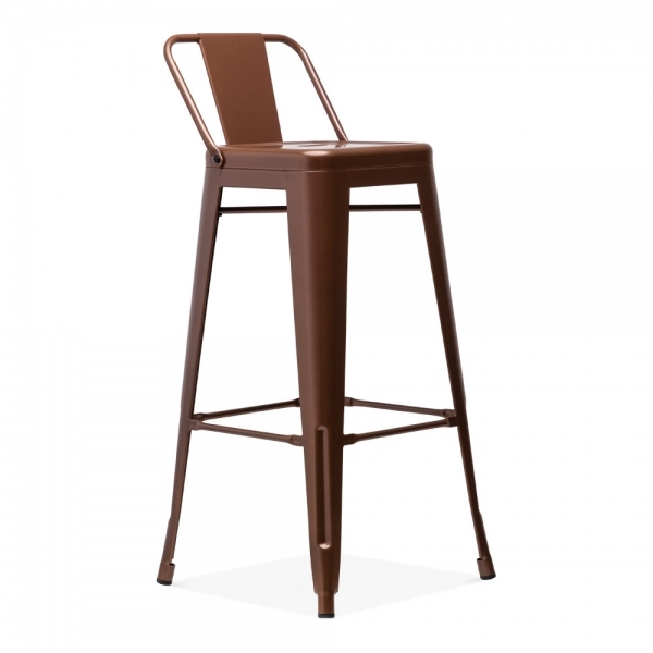 Outstanding Tolix Style Metal Bar Stool With Low Backrest Vintage Copper 75Cm Caraccident5 Cool Chair Designs And Ideas Caraccident5Info