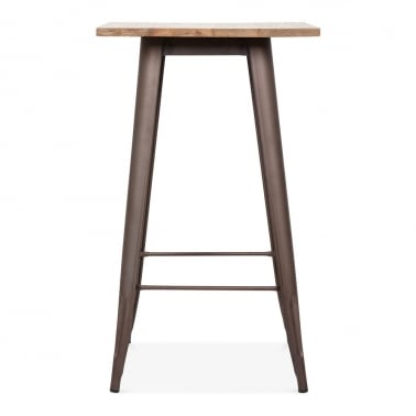 Tolix Style Metal Bar Table with Wood Top - Rustic 102cm