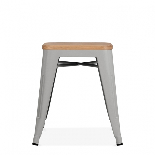 Xavier Pauchard Tolix Style Metal Low Stool with Natural Wood Seat - Cool Grey Matte 45cm